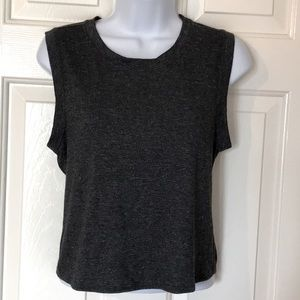 Athleta Charcoal Grey Twisted Knot Crop Top XS